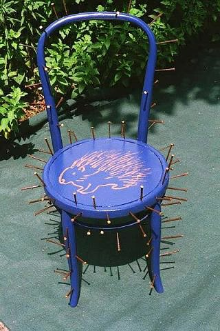 blue porcupine,blue paint ,bent oak chair,nails